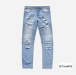 STAMPDDISTRSSED MOTO DENIM